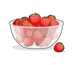 Strawberries in glass bowl. Berries in deep dish plate. Red fresh fruit Stock Illustration