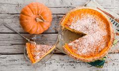 Pumpkin pie with coconut decoration Stock Photos