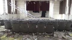 Syria, Kobani - February, 2016: Destroyed interior of library Stock Footage