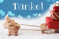 Reindeer, Sled, Light Blue Background, Danke Means Thank You Stock Photos