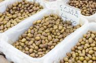 Green Olive, healthy food on the marketplace. Stock Photos