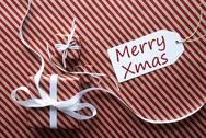 Two Gifts With Label, Text Merry Xmas Stock Photos