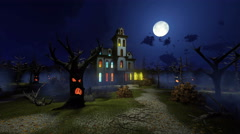Scary mansion among creepy trees at misty night 4K Stock Footage