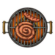 Barbecue grill top view with charcoal and sausage Stock Illustration