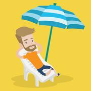Man relaxing on beach chair vector illustration Stock Illustration
