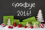Christmas Decoration, Cement, Snow, Text Goodbye 2016 Stock Photos