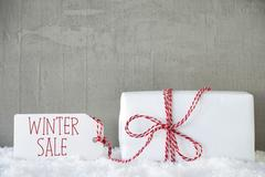 One Gift, Urban Cement Background, Text Winter Sale Stock Photos
