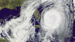 Double Hurricane,  tornado, over Florida.Satellite view. Stock Footage