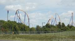 Behemoth roller coaster at Canada's Wonderland amusement park Stock Footage