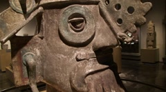 Stone Aztec ancient God Anthropology Museum Mexico City, Steady Cam Stock Footage