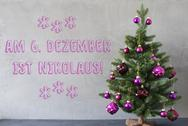 Christmas Tree, Cement Wall, Nikolaus Means Nicholas Day Stock Photos