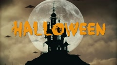 Halloween night background with haunted house Stock Footage
