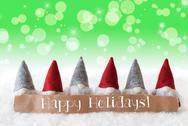 Gnomes, Green Background, Bokeh, Stars, Text Happy Holidays Stock Photos