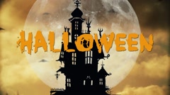 Halloween night background with haunted house Arkistovideo
