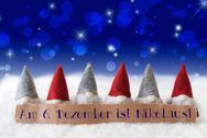 Gnomes, Blue Bokeh, Stars, Nikolaus Means Nicholas Day Stock Photos