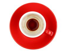 Empty espresso coffee in red cup isolated on white Stock Photos
