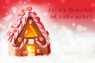 Gingerbread House, Red Background, Text Weihnachten Means Christmas Stock Photos
