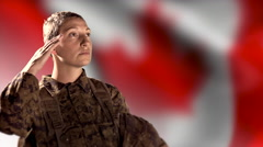 4K Canadian Combat Soldier, Salute Canada Flag Background, Armed Forces Woman Stock Footage