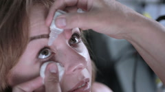 Female patient on medical attendance at the optometrist. Contemporary modern Stock Footage
