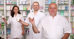 Pharmaceutical  Concept Pharmacy Teamwork Presenting Vitamins Cure Advertising Stock Footage