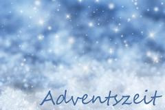 Blue Sparkling Christmas Background, Snow, Adventszeit Means Advent Season Stock Illustration