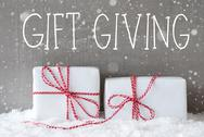 Two Gifts With Snowflakes, Text Gift Giving Stock Photos