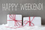 Two Gifts With Snow, Text Happy Weekend Stock Photos
