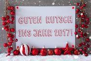 Label, Snowflakes, Christmas Balls, Guten Rutsch 2017 Means New Year Stock Photos