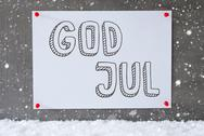 Label On Cement Wall, Snowflakes, God Jul Means Merry Christmas Stock Photos