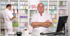 Pharmacy Concept Serious Druggist Press Presentation Drugstore Working Activity Stock Footage
