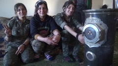 February 12, 2016: YPJ women military in Syria, warm up, SDF - YPJ (YPG) Stock Footage