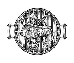 Barbecue grill top view with charcoal, mushroom, tomato, pepper and beef steak Stock Illustration