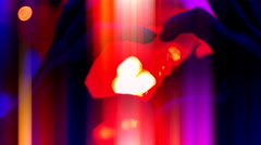 4K Hand Silhouette in Shape of Heart, Party Music Flashing Lights Celebration Stock Footage
