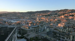 Aerial view of Genoa  from a rooftop Stock Footage