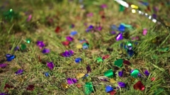 Confetti on green grass at the open-air ceremony Stock Footage