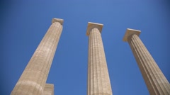 Acropolis of the castle of Lindos (island of Rhodes in greece) Stock Footage
