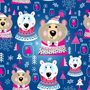 Christmas pattern with portraits of bears Stock Illustration