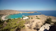 Landscape of a bay near the village of Lindos (island of Rhodes, greece) Stock Footage