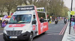 4K Runners & support vehicles at the 2016 London Marathon - Editorial Stock Footage
