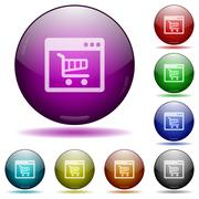 Webshop application glass sphere buttons Stock Illustration