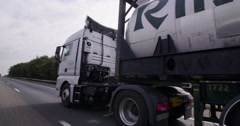 Tank truck driving transport highway Netherlands Stock Footage