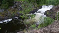 Kivach waterfall on the Suna river in Karelia in Russia Stock Footage