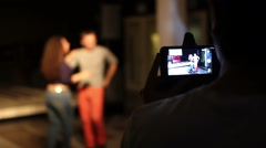 Man shoting kizomba dance at phone Stock Footage