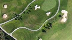 Green golf course over head aerial shot 4k Stock Footage