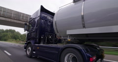 Tank truck driving transport Netherlands Stock Footage