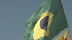 A Brazilian flag blowing in the wind Stock Footage