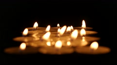 Burning candles background. Clouse up Stock Footage