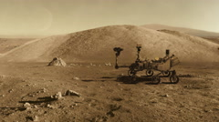 Mars curiosity rover moving Stock Footage