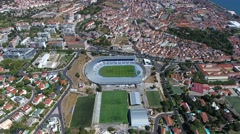 River tagus tejo belem lisbon Portugal aerial shot 4k Stock Footage