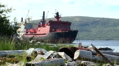 "The second in the world nuclear icebreaker ""Arktika"" is anchored near the shore. Stock Footage"